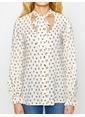 Koton Desenli Yakası Bağlamalı Gömlek Beyaz